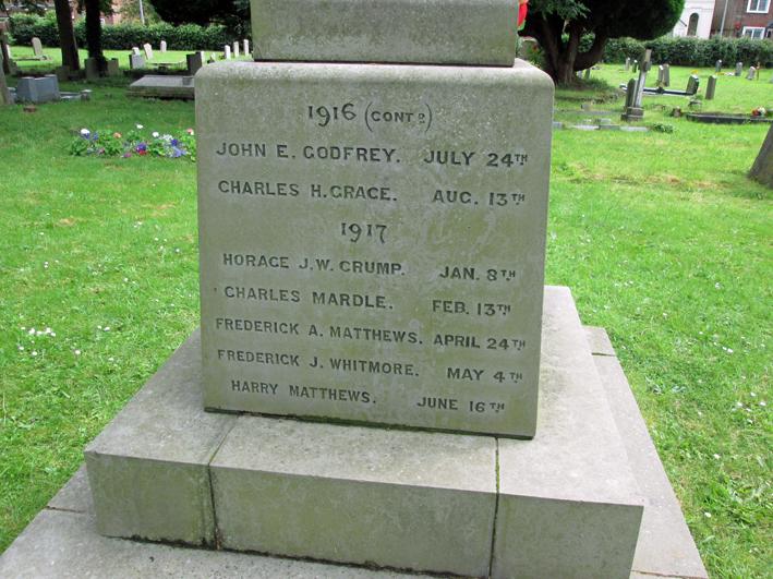 Caddington War Memorial names