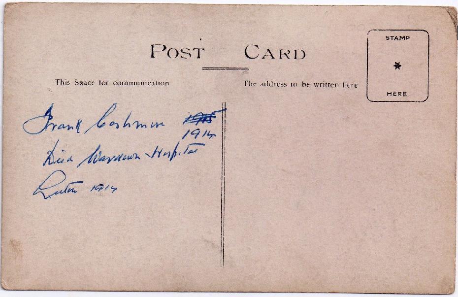 Frank Cashman postcard back