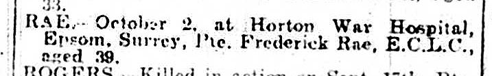 Frederick Rae death notice in Luton News10-10-1918