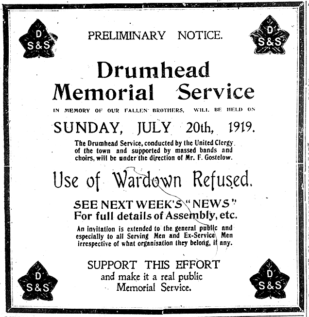 Drumhead advert, Wardown cancelled