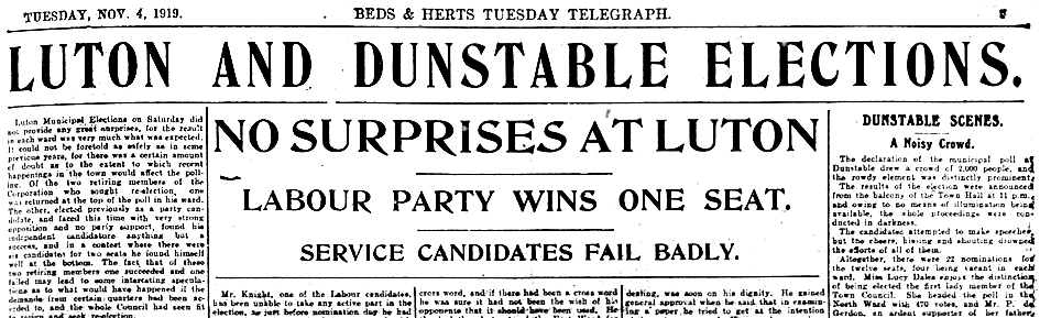 1919 Town Council elections headline