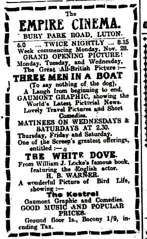 Empire Cinema opening programme