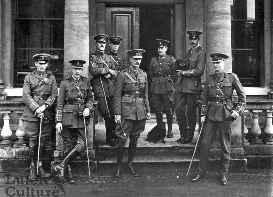 Edward and his staff at Stockwood House, he is in the centre 1914