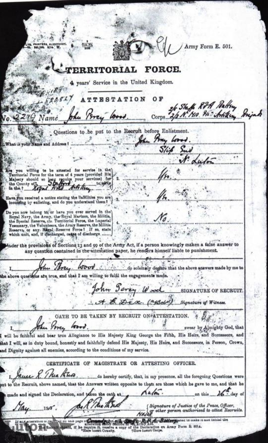 Attestation Form J.P Wood | Great War Stories