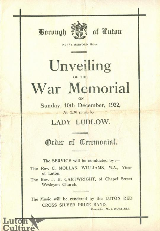 Front cover of programme for unveiling of Luton war memorial
